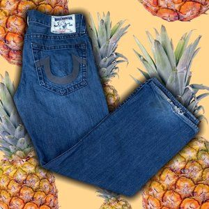 True Religon Relaxed Fit Blue Jeans
